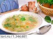 Купить «Куриный суп на столе», фото № 1344681, снято 2 января 2010 г. (c) Андрей Лавренов / Фотобанк Лори