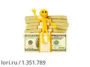 Купить «Смайл, сидящий на стопке долларов», фото № 1351789, снято 26 апреля 2009 г. (c) Elnur / Фотобанк Лори