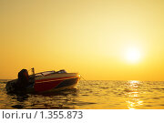 Купить «Быстроходный катер в море», фото № 1355873, снято 8 декабря 2009 г. (c) Роман Сигаев / Фотобанк Лори