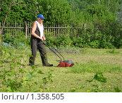 Пожилой мужчина с газонокосилкой косит траву на даче. Стоковое фото, фотограф Нина Солнцева / Фотобанк Лори
