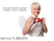 Девушка с красным сердцем в руках и крыльями за спиной к дню Святого Валентина. Стоковое фото, фотограф Чернов Дмитрий / Фотобанк Лори