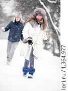 Купить «Молодая пара веселится в зимнем парке», фото № 1364977, снято 20 декабря 2009 г. (c) chaoss / Фотобанк Лори