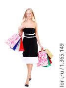 Купить «Шопинг - красивая молодая девушка с покупками в руках», фото № 1365149, снято 6 декабря 2009 г. (c) Андрей Аркуша / Фотобанк Лори