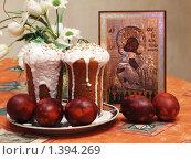 Пасхальный кулич и яйца. Стоковое фото, фотограф Андрей Борисов / Фотобанк Лори