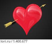 Сердце со стрелой на черном фоне. Стоковая иллюстрация, иллюстратор Роман Зацаринин / Фотобанк Лори