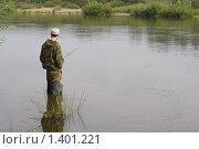Купить «Рыбак на реке», фото № 1401221, снято 9 августа 2009 г. (c) Валерий Крывша / Фотобанк Лори