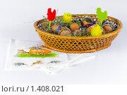 Пасхальные яйца в корзине (2009 год). Редакционное фото, фотограф Александр Евсюков / Фотобанк Лори