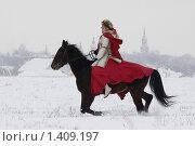 Купить «Скачущая лошадь с всадницей в старинном костюме», фото № 1409197, снято 16 января 2010 г. (c) Яременко Екатерина / Фотобанк Лори