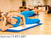 Купить «Девушка занимается фитнесом», фото № 1411697, снято 21 августа 2008 г. (c) Andrejs Pidjass / Фотобанк Лори