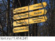 Купить «Указатели в Главном ботаническом саду РАН», эксклюзивное фото № 1414241, снято 1 мая 2009 г. (c) Алёшина Оксана / Фотобанк Лори