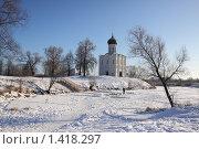 Храм Покрова на Нерли в Боголюбово зимой на фоне синего неба (2010 год). Редакционное фото, фотограф Инна Додица / Фотобанк Лори