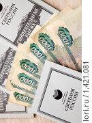 Купить «Сберегательные книжки и тысячные купюры», фото № 1421081, снято 27 января 2010 г. (c) Gagara / Фотобанк Лори