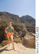 Купить «Девушка в горах», фото № 1422665, снято 28 августа 2007 г. (c) Andrejs Pidjass / Фотобанк Лори