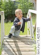 Малыш на деревянном мосту. Стоковое фото, фотограф Papoyan Irina / Фотобанк Лори