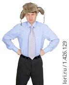 Купить «Комичный портрет русского мужика в галстуке и шапке ушанке на белом фон», фото № 1426129, снято 17 января 2010 г. (c) pzAxe / Фотобанк Лори
