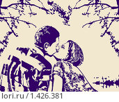 Поцелуй. Стоковая иллюстрация, иллюстратор Светлана Арешкина / Фотобанк Лори