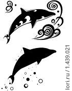 Два дельфина. Стоковая иллюстрация, иллюстратор Игорь Бахтин / Фотобанк Лори