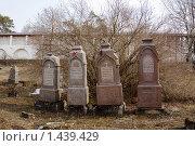Купить «Старинные надгробные памятники бывшего некрополя Успенского монастыря в городе Старице», эксклюзивное фото № 1439429, снято 12 апреля 2009 г. (c) Солодовникова Елена / Фотобанк Лори
