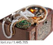 Купить «Сундук с сокровищами на белом фоне», фото № 1445705, снято 23 февраля 2009 г. (c) Яков Филимонов / Фотобанк Лори
