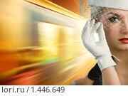 Купить «Девушка в шляпке с вуалью на фоне поезда», фото № 1446649, снято 14 февраля 2009 г. (c) Andrejs Pidjass / Фотобанк Лори