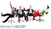 Купить «Группа веселых бизнесменов, сидящих на креслах», фото № 1462001, снято 16 октября 2018 г. (c) Losevsky Pavel / Фотобанк Лори