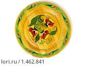 Декоративная деревянная тарелка. Лакированная. Вид сверху. Стоковое фото, фотограф Карташов Евгений / Фотобанк Лори