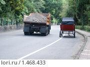 На дороге Камаз обгоняет лошадь с повозкой. Стоковое фото, фотограф Сандалов Максим / Фотобанк Лори