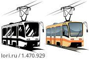 Векторный рисунок трамвая. Цветное и черно-белое изображения. Стоковая иллюстрация, иллюстратор Карлов Сергей / Фотобанк Лори