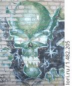 Купить «Зелёный череп на кирпичной стене», фото № 1482205, снято 1 января 2004 г. (c) Денис Кравченко / Фотобанк Лори