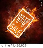 Купить «Горящая этикетка со скидкой», фото № 1486653, снято 11 ноября 2019 г. (c) Константин Юганов / Фотобанк Лори
