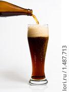 Пиво наливают из бутылки в бокал. Стоковое фото, фотограф Pavel Shchegolev / Фотобанк Лори