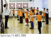 Купить «Урок физкультуры в школе. Дети делают зарядку в спортивном зале», фото № 1491789, снято 29 декабря 2009 г. (c) Анастасия Семенова / Фотобанк Лори