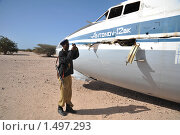 Купить «Полицейский у разбившегося самолёта в Африке», фото № 1497293, снято 10 января 2010 г. (c) Free Wind / Фотобанк Лори