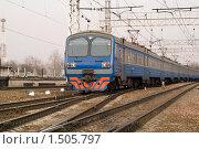 Купить «Поезд на рельсах», фото № 1505797, снято 11 апреля 2009 г. (c) Максим Лоскутников / Фотобанк Лори