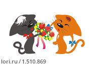 Открытка к 8 марта с кошками. Стоковая иллюстрация, иллюстратор Галина Щурова / Фотобанк Лори