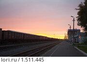 Купить «Летний рассвет на приполярной железнодорожной станции. Инта, Россия», фото № 1511445, снято 18 июля 2009 г. (c) Max Toporsky / Фотобанк Лори