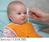 Купить «Кормление ребенка из ложечки», фото № 1514785, снято 22 февраля 2010 г. (c) Денис Шароватов / Фотобанк Лори