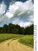 Дорога в поле, далее зигзагом уходящая в лес. Мощные облака над лесом. Стоковое фото, фотограф Евгений Мидаков / Фотобанк Лори