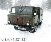 ГАЗ-66, в сильную метель (2010 год). Редакционное фото, фотограф Дмитрий Батталов / Фотобанк Лори