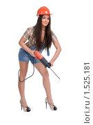 Купить «Девушка в строительной каске с дрелью», фото № 1525181, снято 9 июня 2009 г. (c) Александр Маркин / Фотобанк Лори