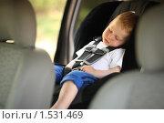 Купить «Мальчик спит в детском сиденье автомобиля», фото № 1531469, снято 18 апреля 2008 г. (c) Константин Сутягин / Фотобанк Лори