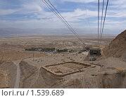 Купить «Канатная дорога к крепости Масада, Израиль. Внизу - остатки лагерей римлян», фото № 1539689, снято 22 февраля 2010 г. (c) GrayFox / Фотобанк Лори