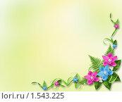 Зеленый фон с цветами. Стоковая иллюстрация, иллюстратор Lora Liu / Фотобанк Лори