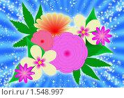 Коллаж из цветов. Стоковая иллюстрация, иллюстратор Екатерина Новикова / Фотобанк Лори