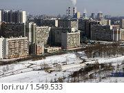 Купить «Москва. Вид на спальный район и трубы», фото № 1549533, снято 13 марта 2010 г. (c) Ярослав Каминский / Фотобанк Лори