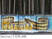 """Купить «""""Мы помним"""" - молодежный рисунок граффити на ограде в честь праздника Победы», фото № 1576145, снято 23 марта 2010 г. (c) Александр Федоренко / Фотобанк Лори"""