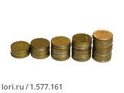 Лестница из монет России начала 90-х годов (изоляция) Стоковое фото, фотограф Андрей Филиппов / Фотобанк Лори