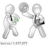 Купить «Человечек покупает авторское право у автора», иллюстрация № 1577977 (c) Олеся Сарычева / Фотобанк Лори