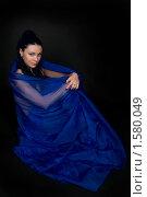 Купить «Девушка в синей дымке шелка», фото № 1580049, снято 3 марта 2010 г. (c) Okssi / Фотобанк Лори