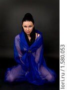 Купить «Девушка в синей дымке шелка», фото № 1580053, снято 3 марта 2010 г. (c) Okssi / Фотобанк Лори
